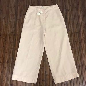 J. Jill Peach Flat Front Wide Leg Linen crop Pamts